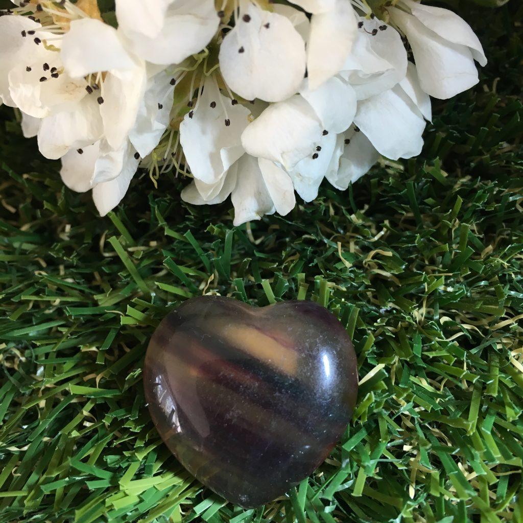 Rainbow Fluorite Crystal Puff Heart