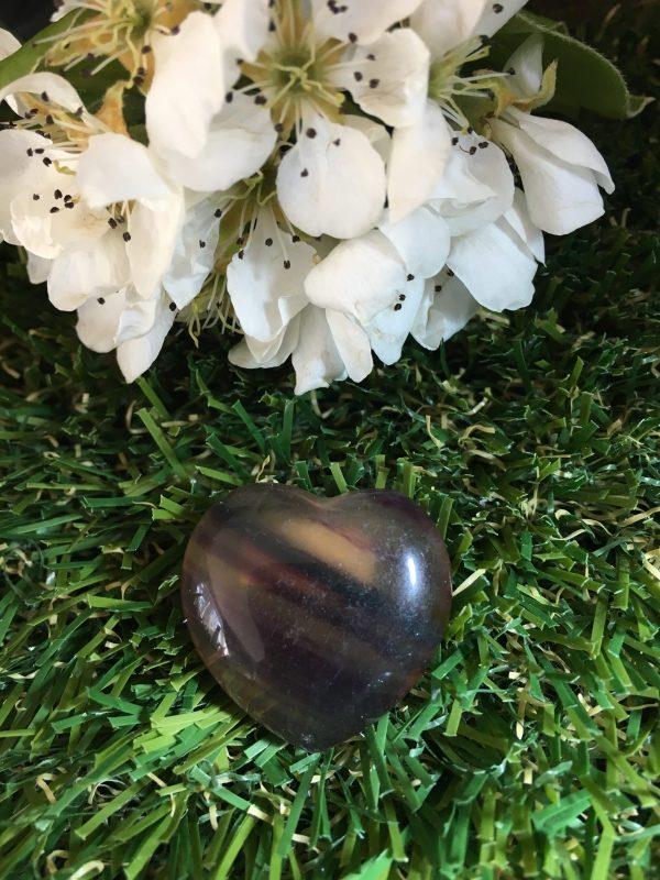 Fluorite Rainbow Crystal Puff Heart