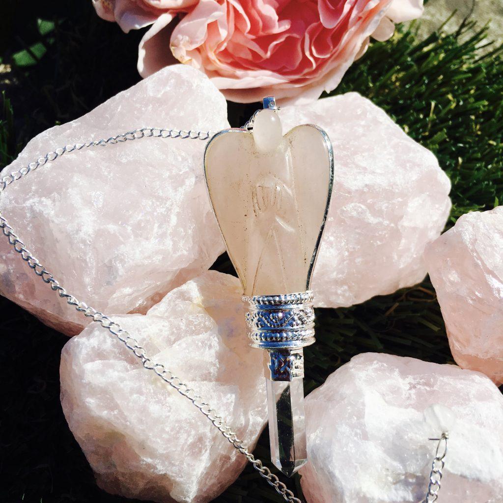(3) Rose Quartz Angel Pendulum / Dowser