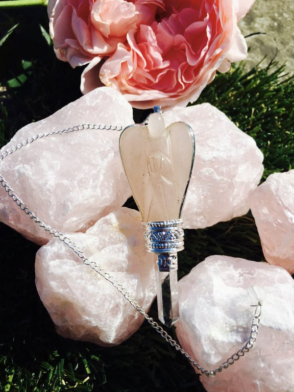 Rose Quartz Angel Pendulum/Dowser – A Crystal For Love, Personal Development & Heart Chakra Balancing