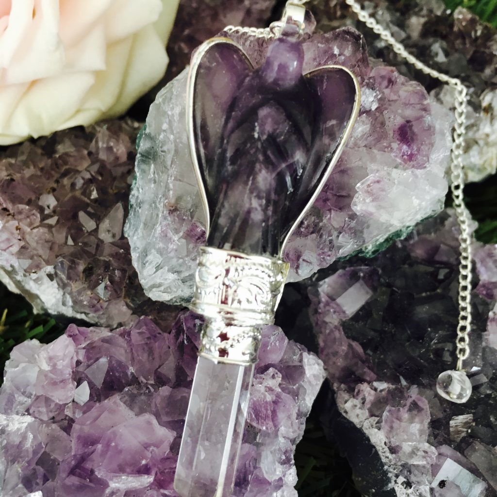 (2)Amethyst Angel Pendulum / Dowser