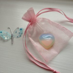 Opalite Crystal Puff Heart- Angelic, Peace, Calm, Healing, Wish Crystal