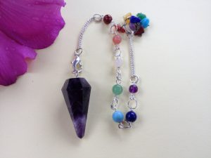 Amethyst Crystal Healing Dowser With Beaded Chain