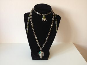 Live, Love, Laugh, lucky elephant charm necklace double chain