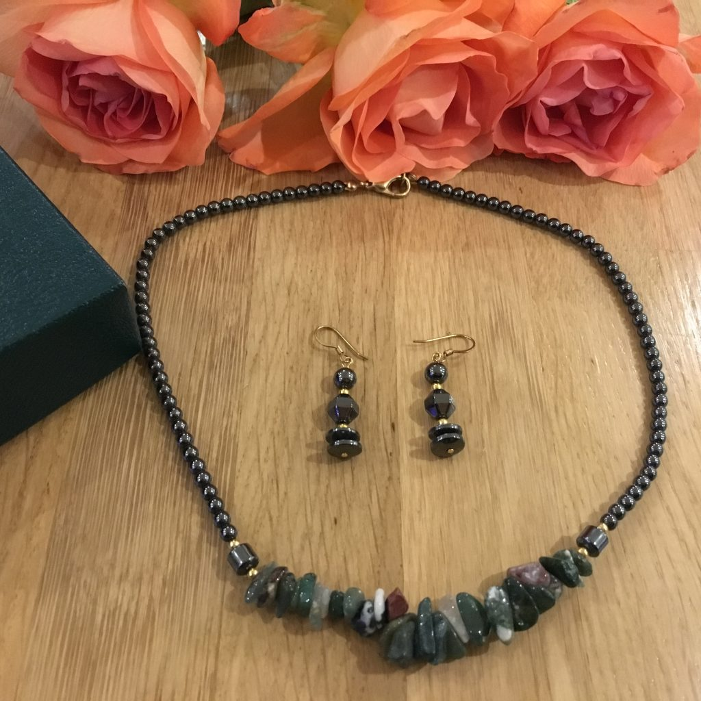 Hematite Crystal Necklace with Matching Earrings