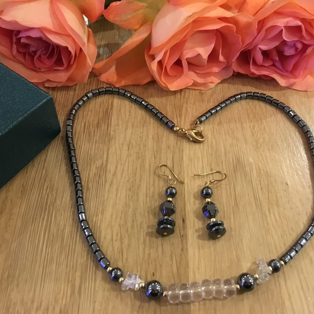 Hematite Crystal Necklace And Matching Earrings