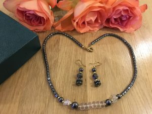 Hematite Necklace and Matching Earrings