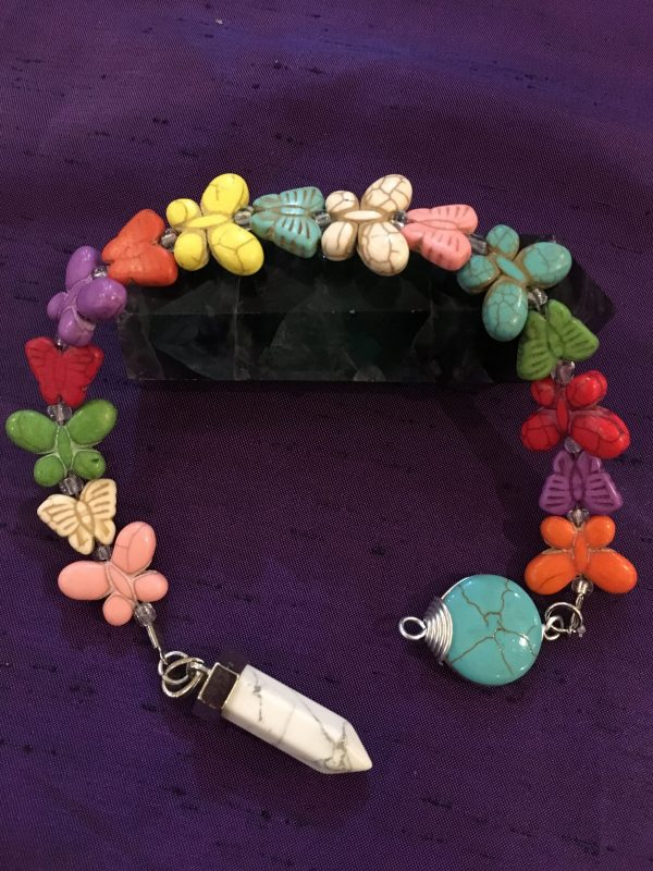 (A) Howlite, Butterfly Beaded Dowser / Pendulum