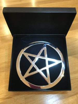 Silver Plated Altar Pentacle 15cms – meditation, herbal spiritual rituals, healing, magical, wicca,
