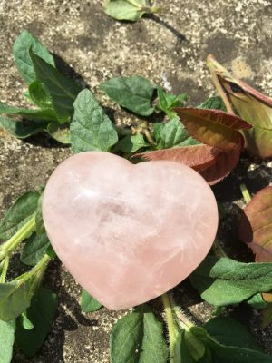 Rose Quartz Crystal Puff Heart