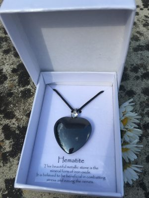 1) Hematite Gemstone Pendant – Mental Clarity, Grounding, Protection, Negativity, Love