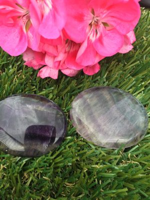 Fluorite Worry Stone, Palm Stone + Protective Pouch