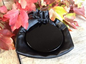 Scrying Mirror Black Obsidian + Storage Pouch