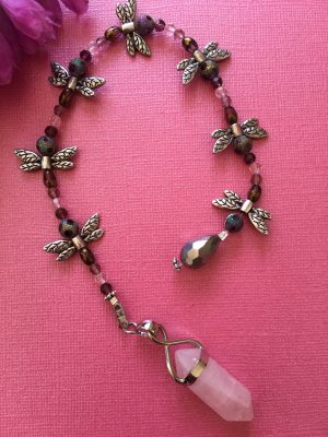 Rose Quartz Dragonfly Pendulum/Dowser Handcrafted – The Stone of Love