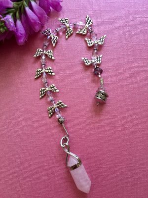 Rose Quartz Angel Beaded Pendulum / Dowser – Handcrafted, Love, Peace, Calm, Divination