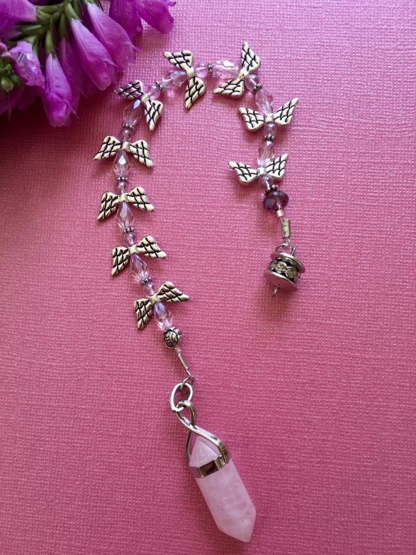 Rose Quartz Dragonfly Pendulum/Dowser Handcrafted –Higher Dimensional Love And Peace