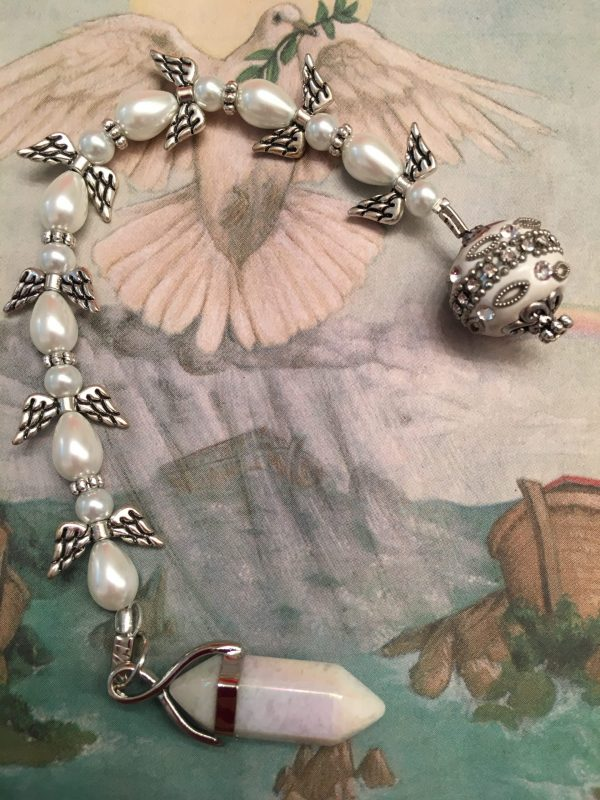 Snow Quartz Pearlised Beaded Angel Pendulum Dowser – Good Luck, Peace, Calm, Chakra Balancing, Divination, Scrying