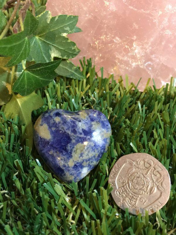 Lapis Lazuli Heart Crystal Heart Crystal Healing – Aids Psychic Ability. Spiritual Visions, Third Eye/Throat Activation, Listen Hear Express
