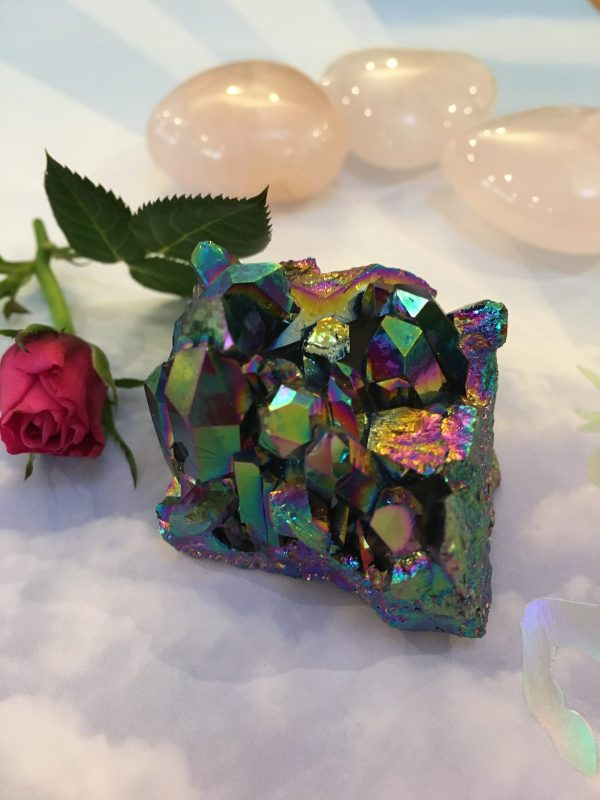 Rainbow Titanium Aura Quartz Cluster – Calm Emotional Body, Anger, Open Energy Centres, Clear Vision