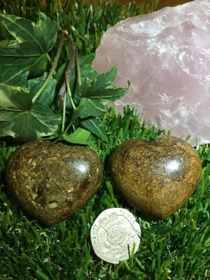 Bronzite Crystal Hearts – Warrior Stone, Letting Go, Grief, Loss, Resurrecting, Self Confidence