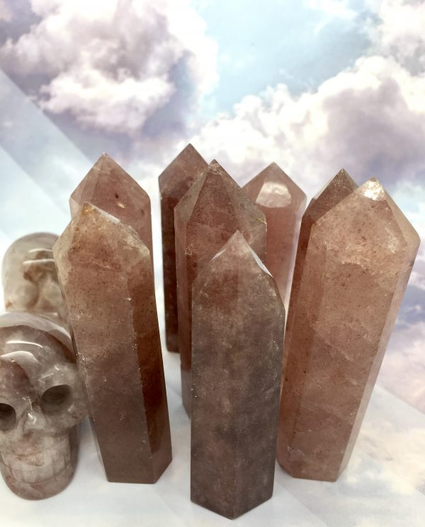 Strawberry / Tanzberry Quartz Crystal Tower Point