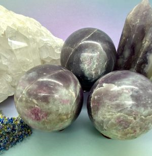 Lepidolite With Pink Tourmaline Sphere –