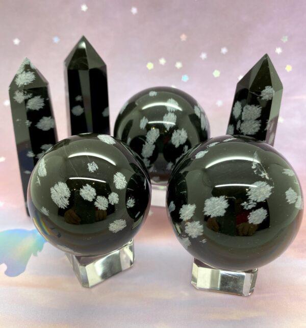 Snowflake Obsidian Spheres
