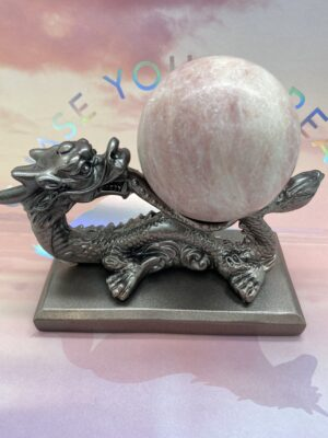 Pink Opal Sphere + Dragon Display Stand