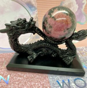 Rhodonite Sphere + Dragon Display Stand