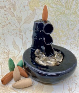 Back Flow Incense Burner Bamboo & Pool Ceramic
