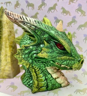 Large Green Dragons Head Backflow Incense Burner