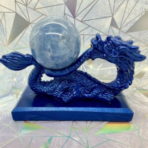 Blue Calcite Sphere + Dragon Stand