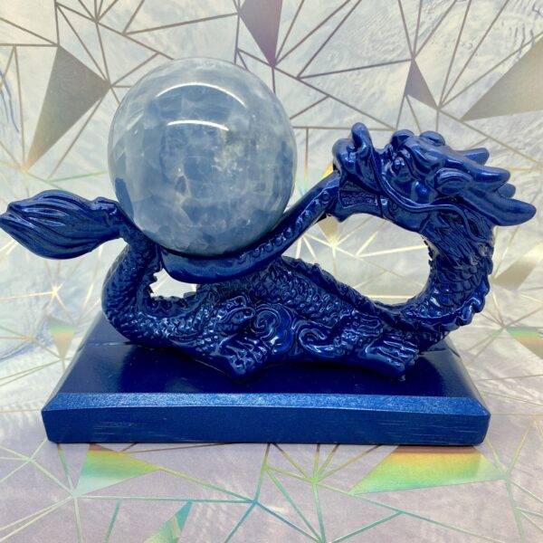 Blue Calcite Sphere + Dragon Stand
